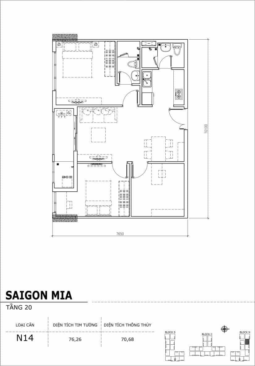 Chi tiết thiết kế căn hộ Sài gòn Mia tầng 20 - Căn N14
