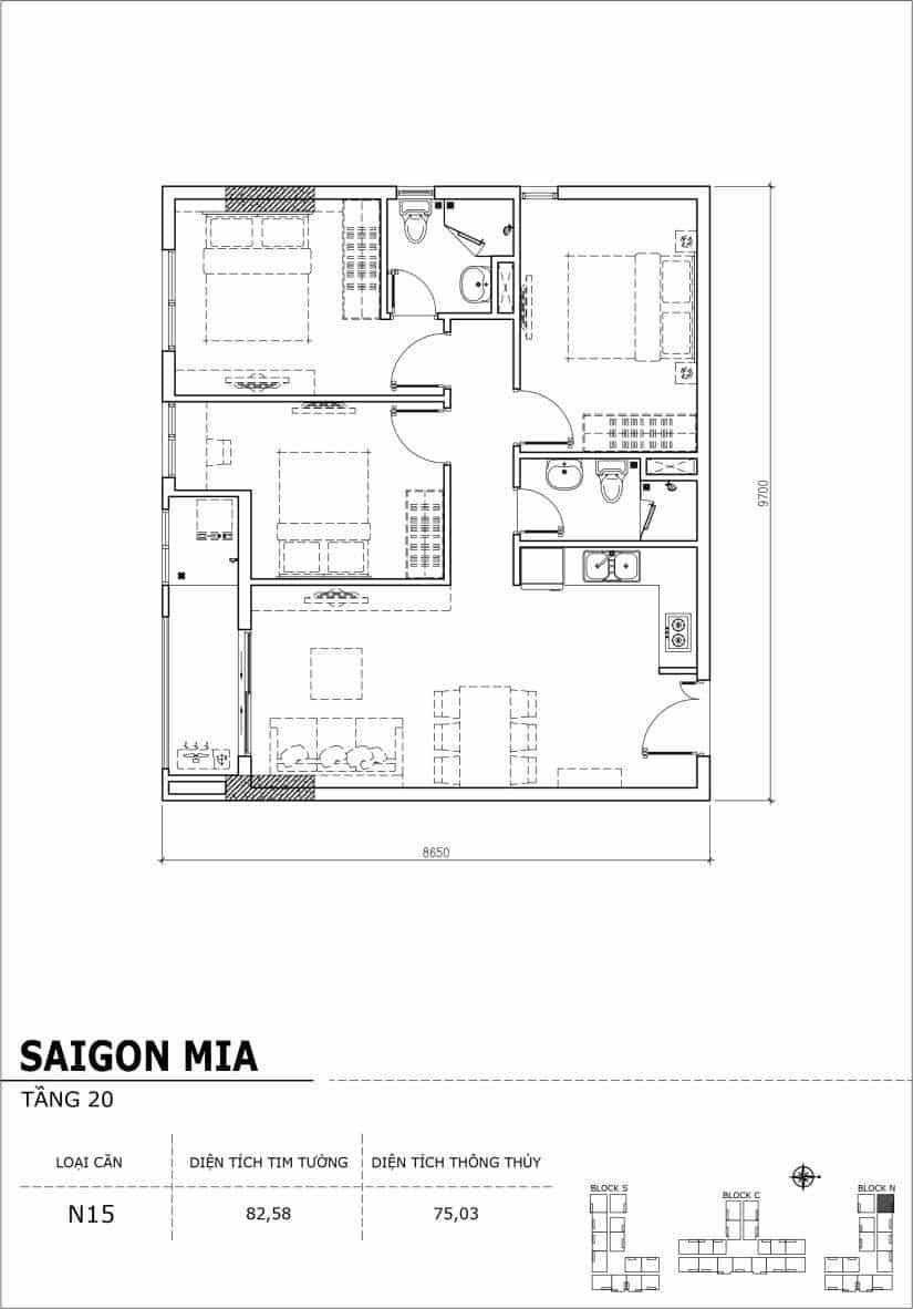 Chi tiết thiết kế căn hộ Sài gòn Mia tầng 20 - Căn N15