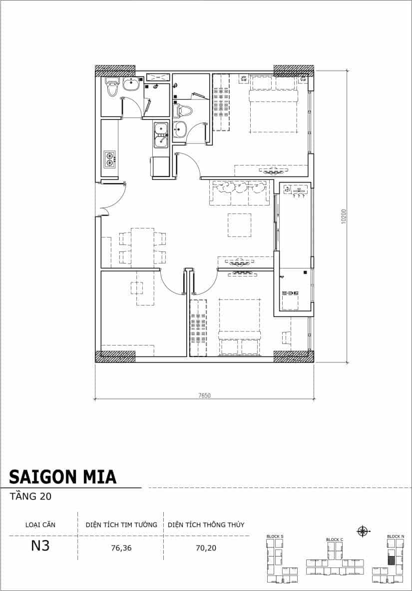 Chi tiết thiết kế căn hộ Saigon Mia tầng 20 - Căn N3