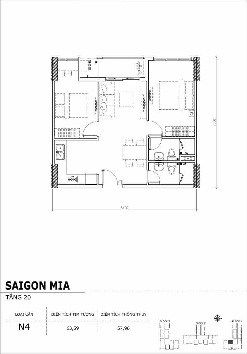 Chi tiết thiết kế căn hộ Saigon Mia tầng 20 - Căn N4
