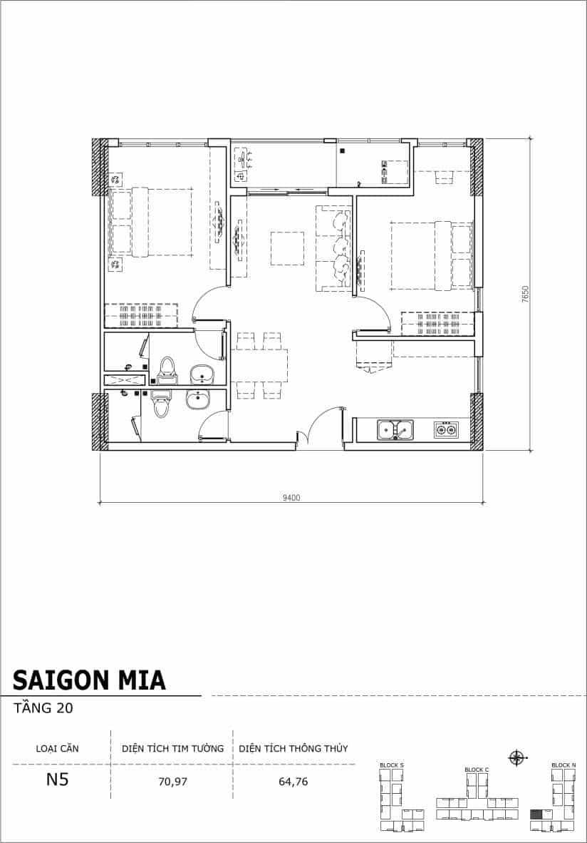 Chi tiết thiết kế căn hộ Sài gòn Mia tầng 20 - Căn N5