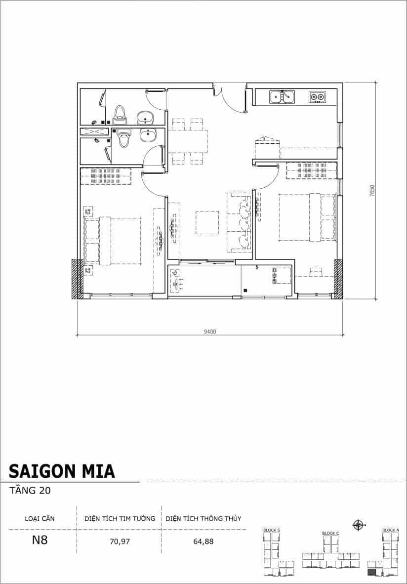 Chi tiết thiết kế căn hộ Saigon Mia tầng 20 - Căn N8