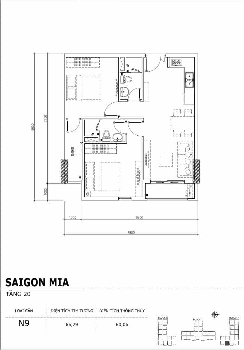 Chi tiết thiết kế căn hộ Saigon Mia tầng 20 - Căn N9