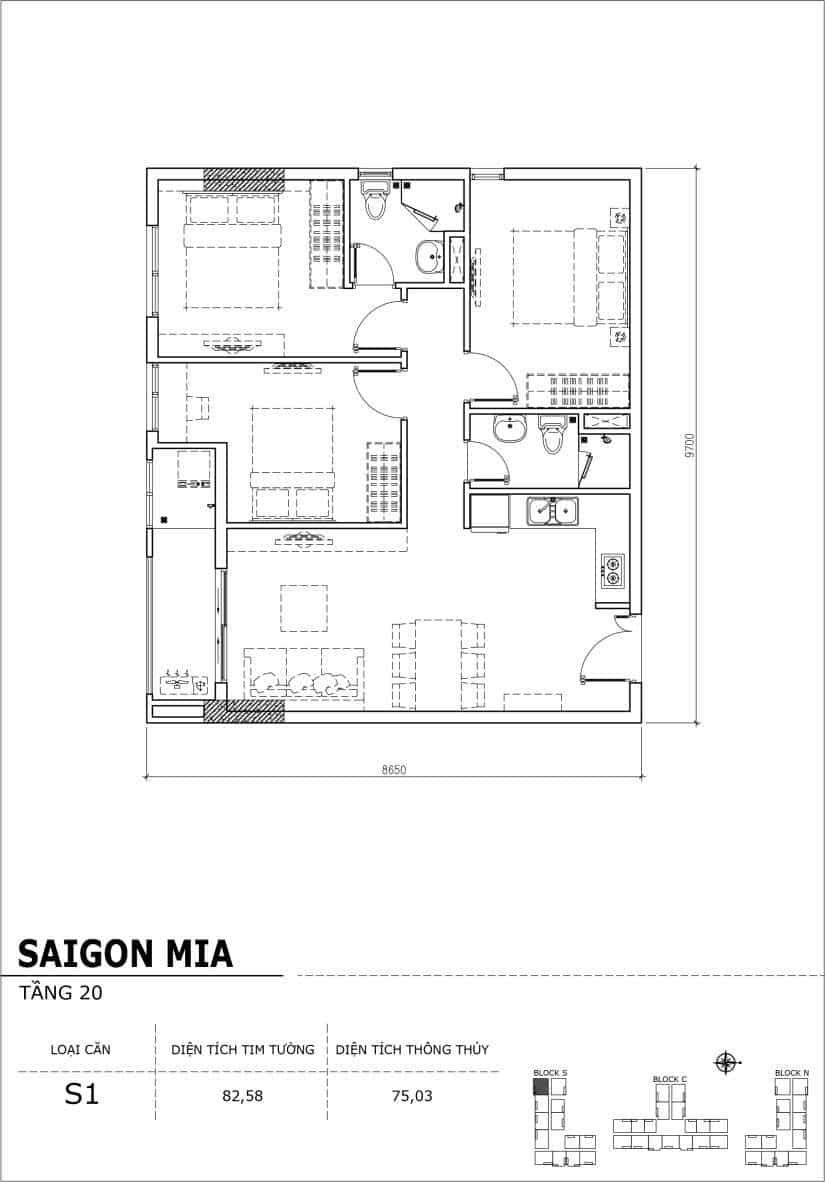 Chi tiết thiết kế căn hộ Sài gòn Mia tầng 20 - Căn S1