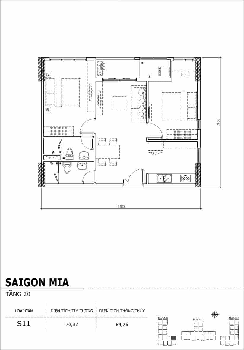 Chi tiết thiết kế căn hộ Saigon Mia tầng 20 - Căn S11