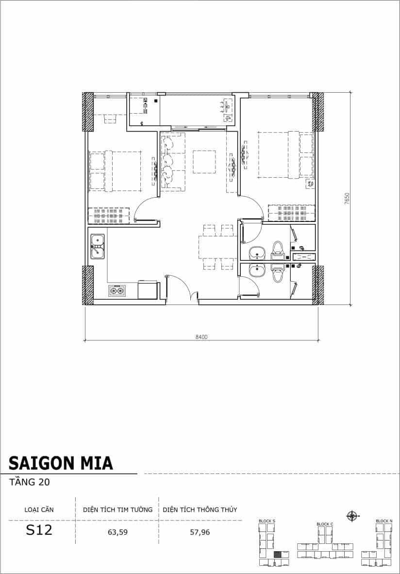 Chi tiết thiết kế căn hộ Saigon Mia tầng 20 - Căn S12
