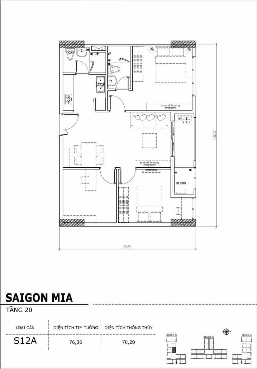 Chi tiết thiết kế căn hộ Sài gòn Mia tầng 20 - Căn S12A