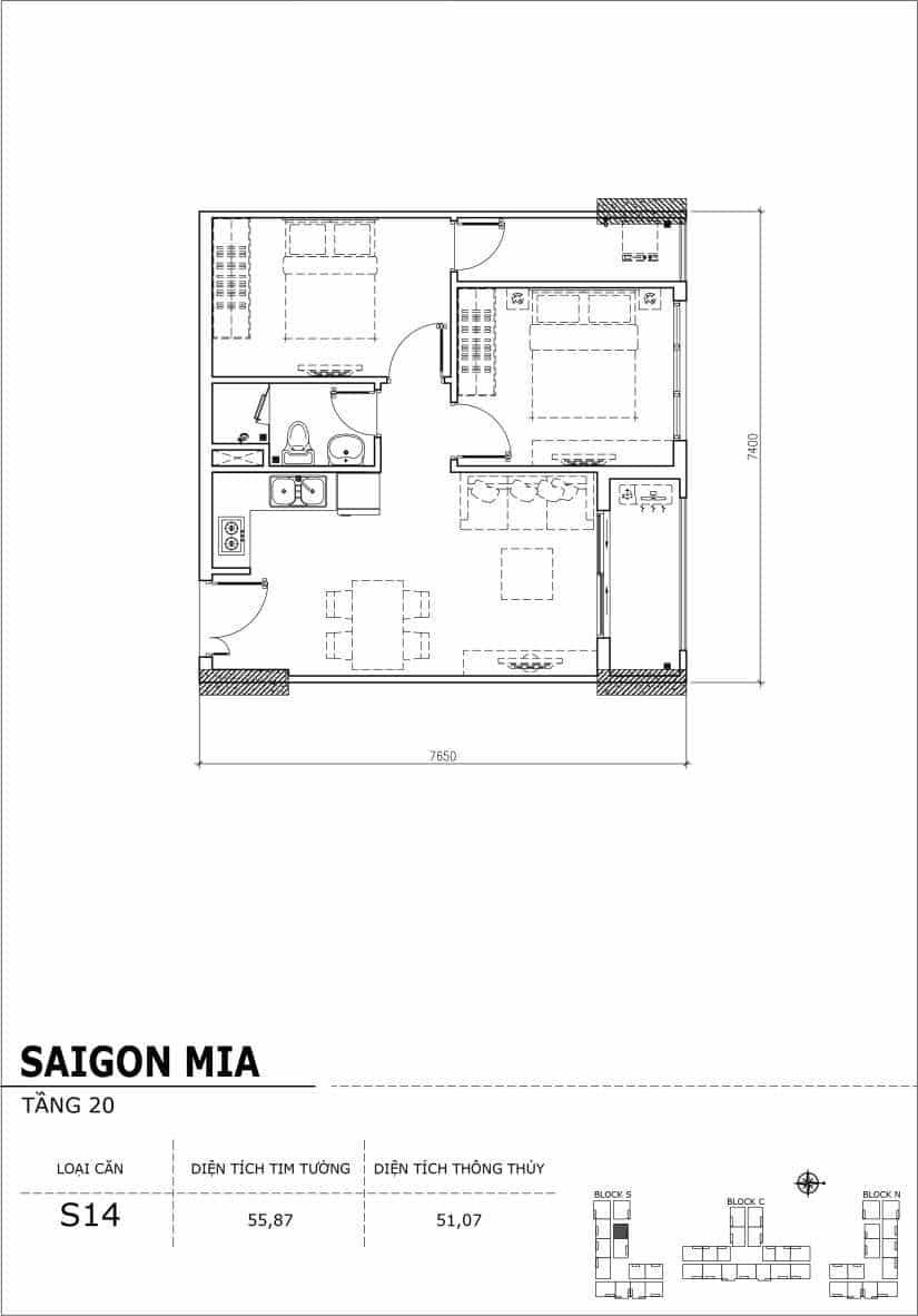 Chi tiết thiết kế căn hộ Saigon Mia tầng 20 - Căn S14