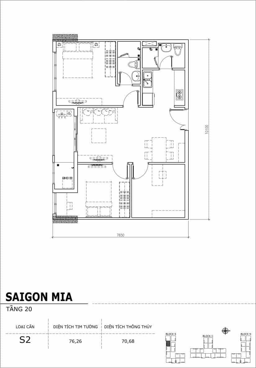 Chi tiết thiết kế căn hộ Saigon Mia tầng 20 - Căn S2