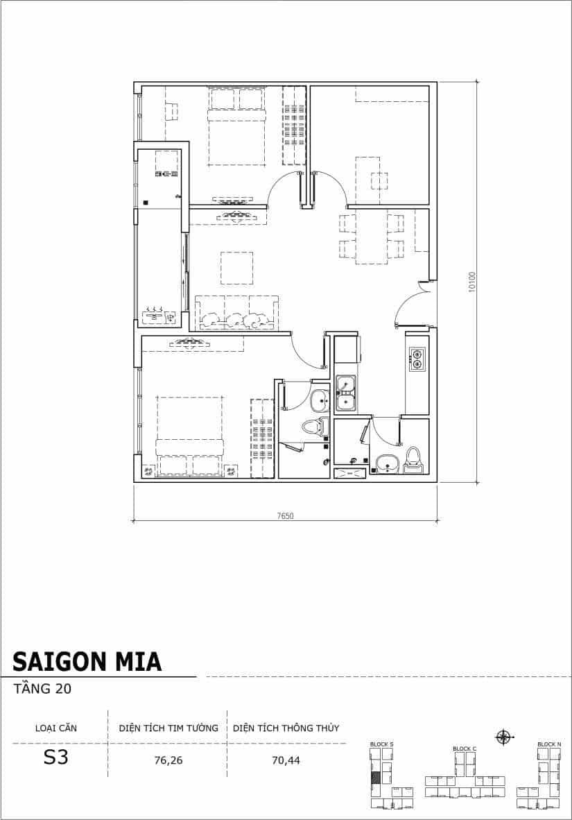 Chi tiết thiết kế căn hộ Saigon Mia tầng 20 - Căn S3