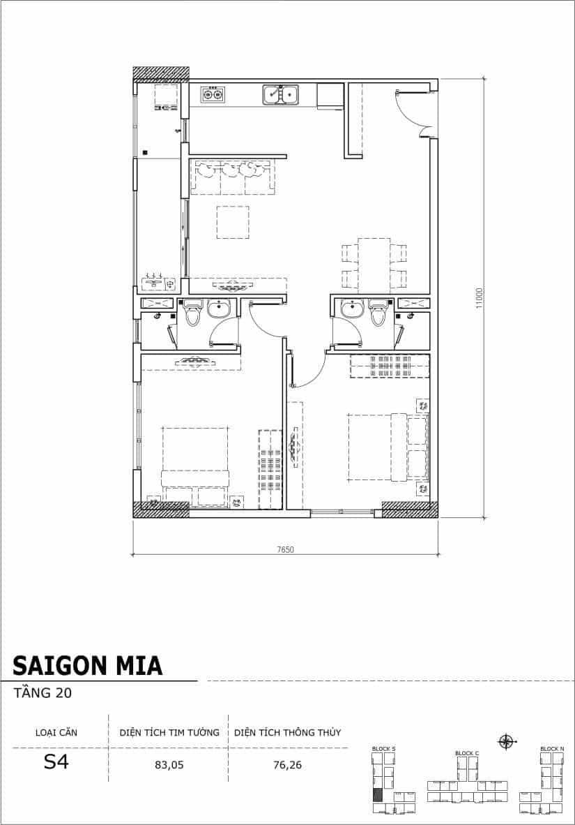 Chi tiết thiết kế căn hộ Saigon Mia tầng 20 - Căn S4