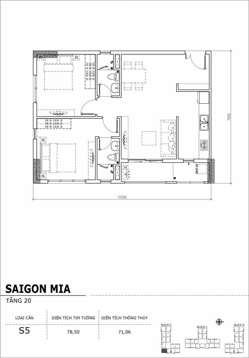 Chi tiết thiết kế căn hộ Saigon Mia tầng 20 - Căn S5