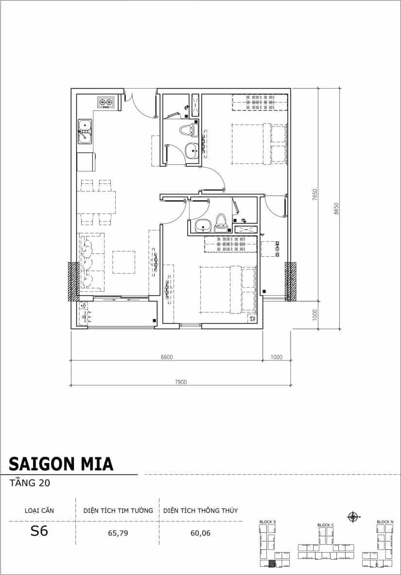 Chi tiết thiết kế căn hộ Saigon Mia tầng 20 - Căn S6