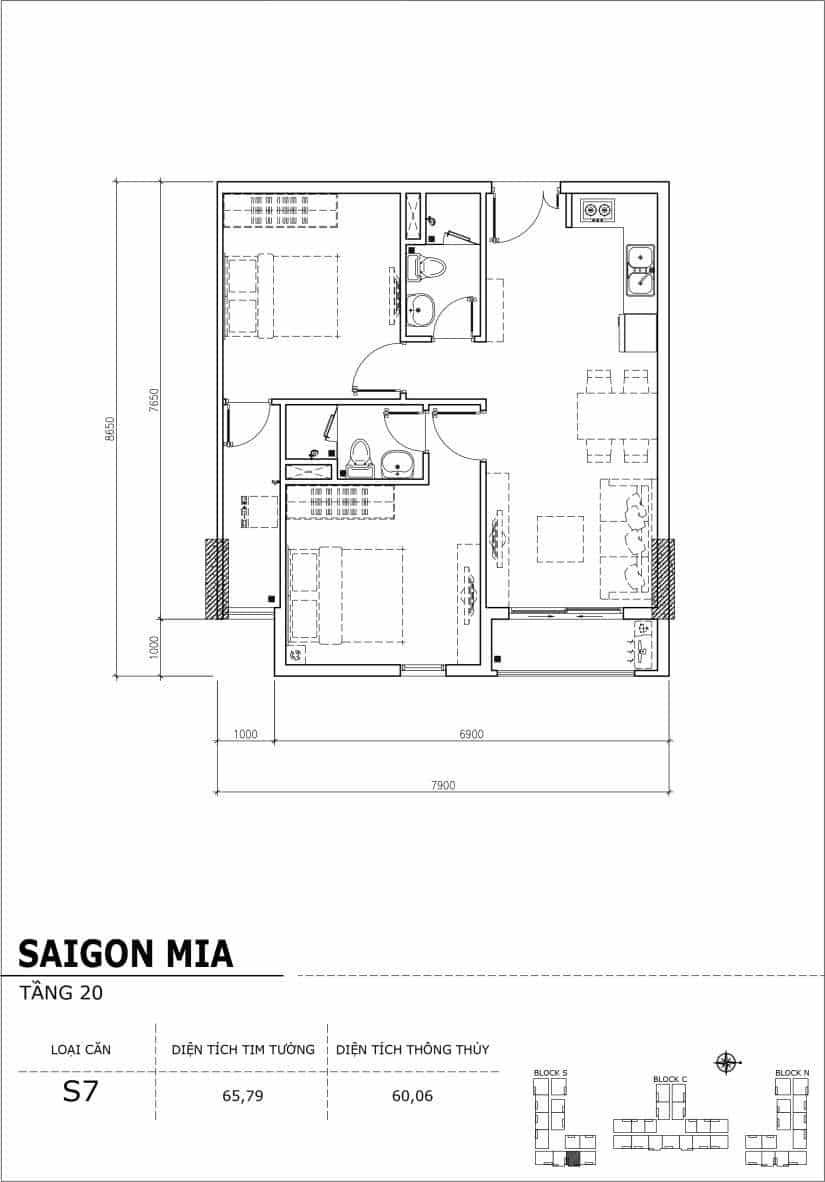 Chi tiết thiết kế căn hộ Saigon Mia tầng 20 - Căn S7