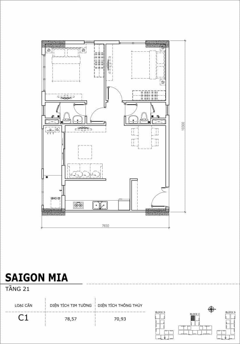 Chi tiết thiết kế căn hộ Saigon Mia Hưng Thịnh Tầng 21-Căn C1