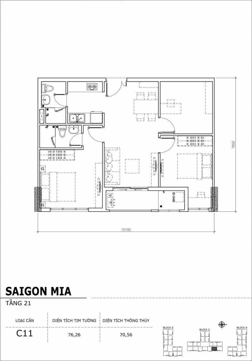 Chi tiết thiết kế căn hộ Saigon Mia Hưng Thịnh Tầng 21-Căn C11