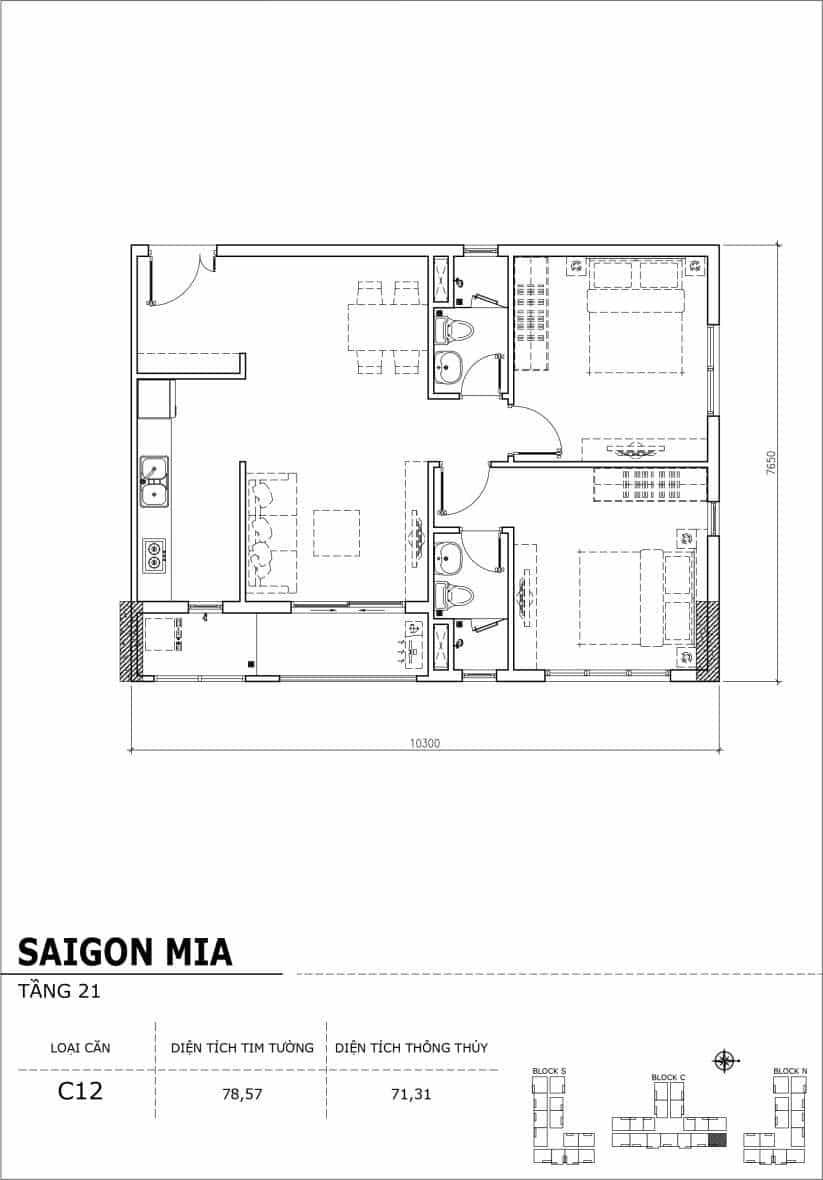 Chi tiết thiết kế căn hộ Saigon Mia Hưng Thịnh Tầng 21-Căn C12