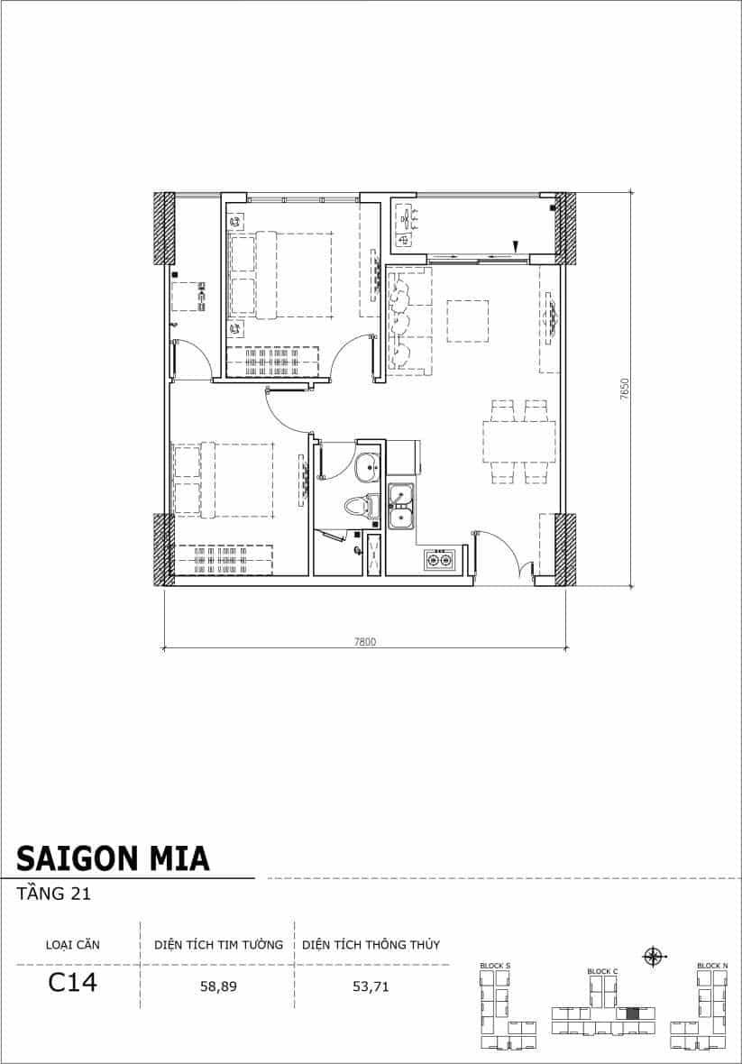 Chi tiết thiết kế căn hộ Saigon Mia Hưng Thịnh Tầng 21-Căn C14