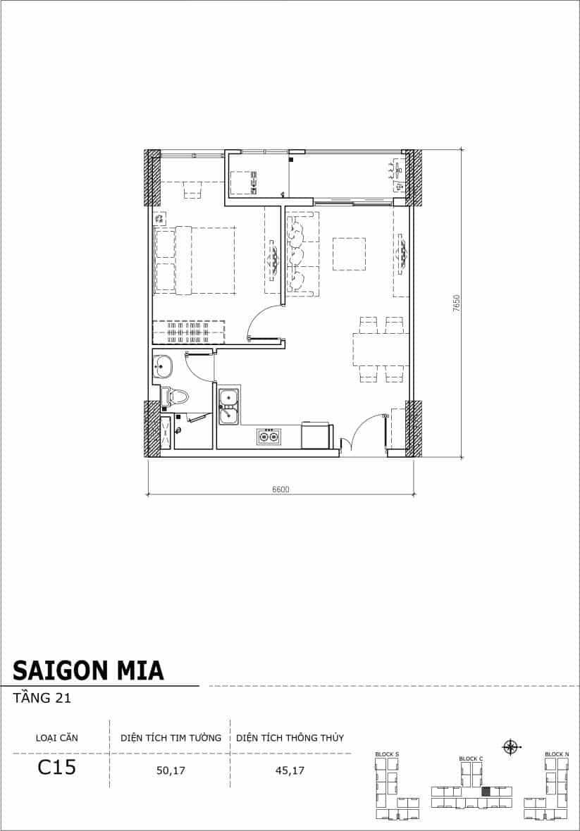 Chi tiết thiết kế căn hộ Saigon Mia Hưng Thịnh Tầng 21-Căn C15