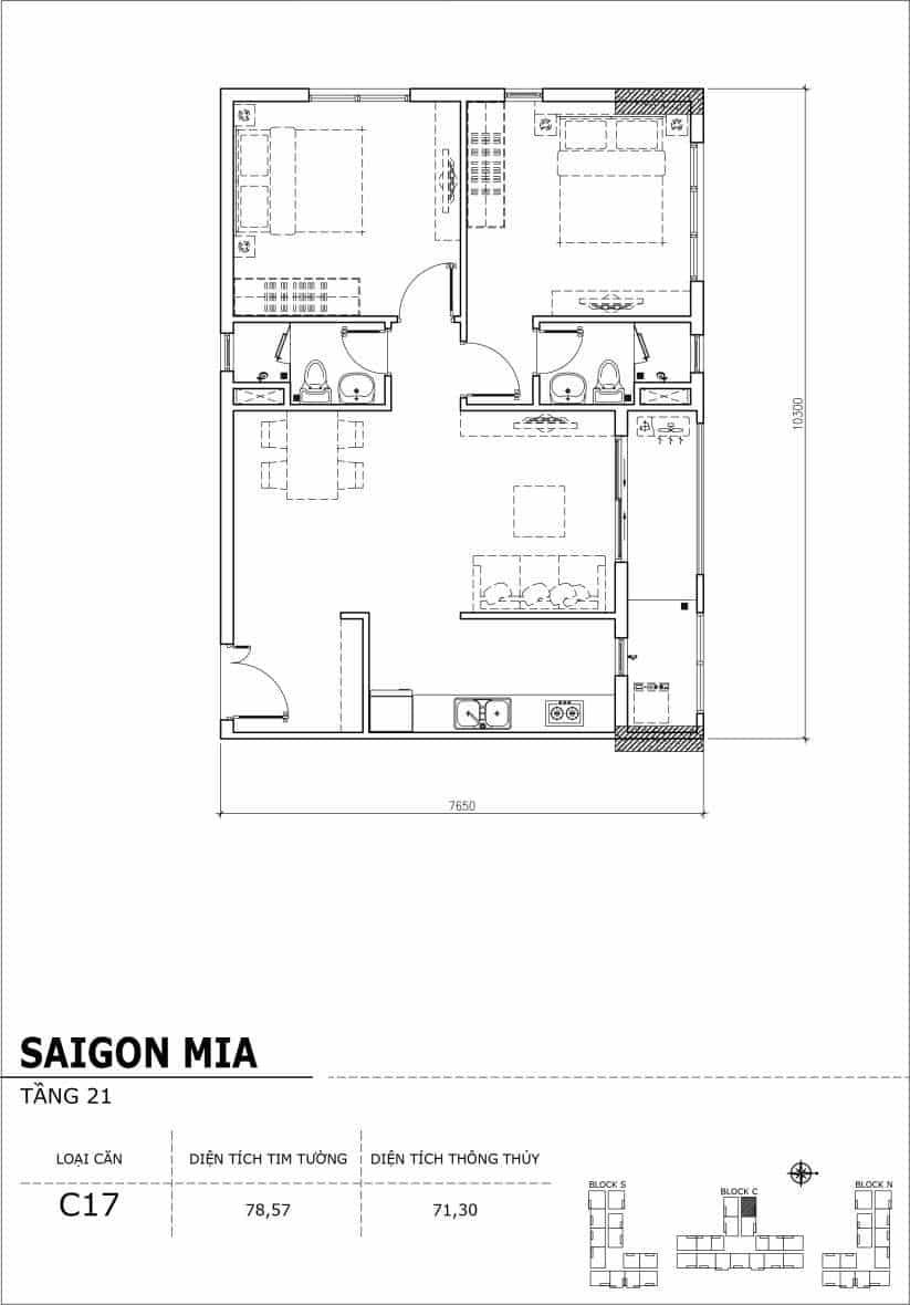 Chi tiết thiết kế căn hộ Saigon Mia Hưng Thịnh Tầng 21-Căn C17