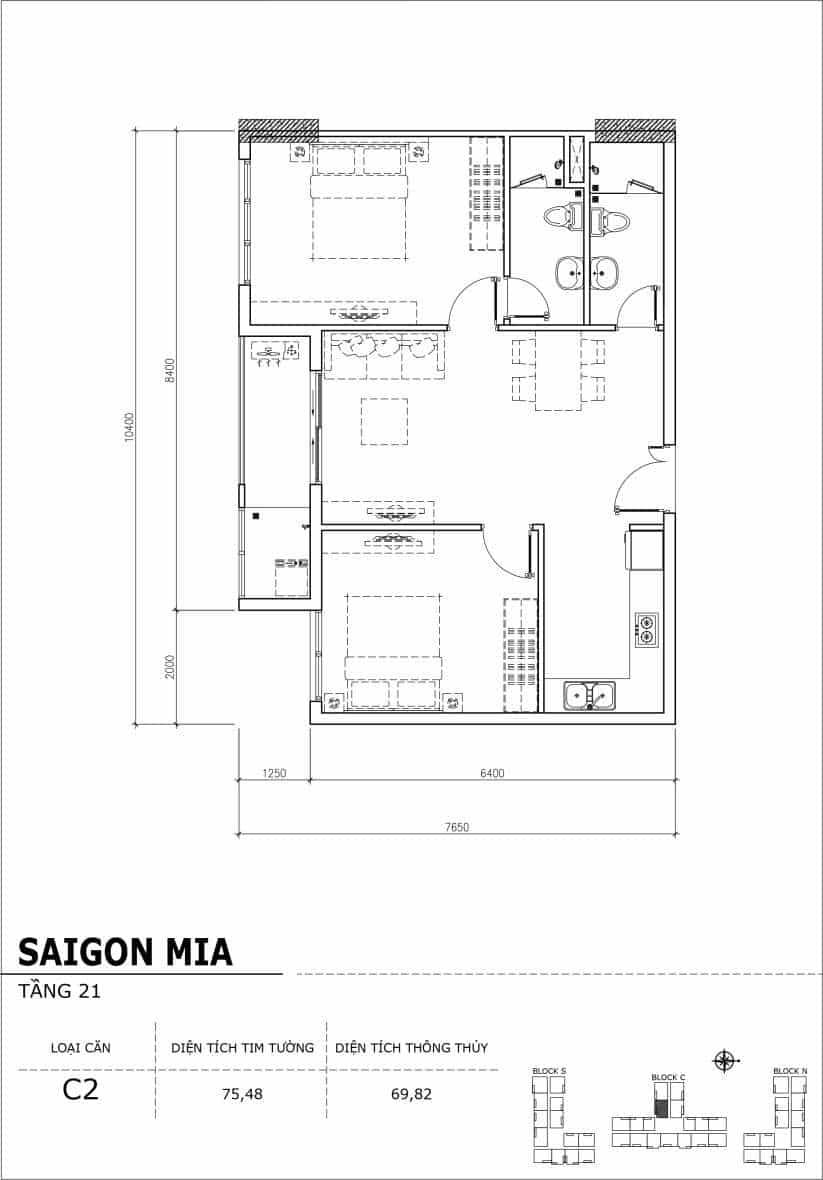 Chi tiết thiết kế căn hộ Saigon Mia Hưng Thịnh Tầng 21-Căn C2