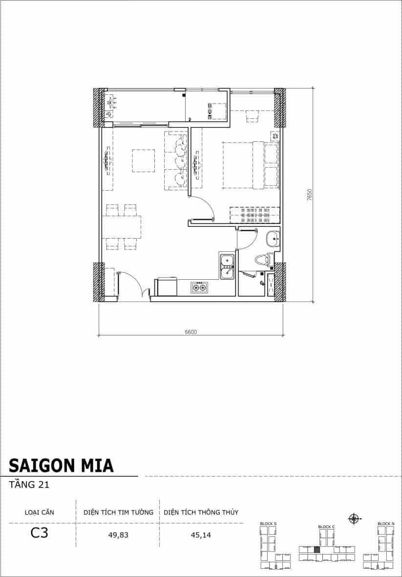 Chi tiết thiết kế căn hộ Saigon Mia Hưng Thịnh Tầng 21-Căn C3