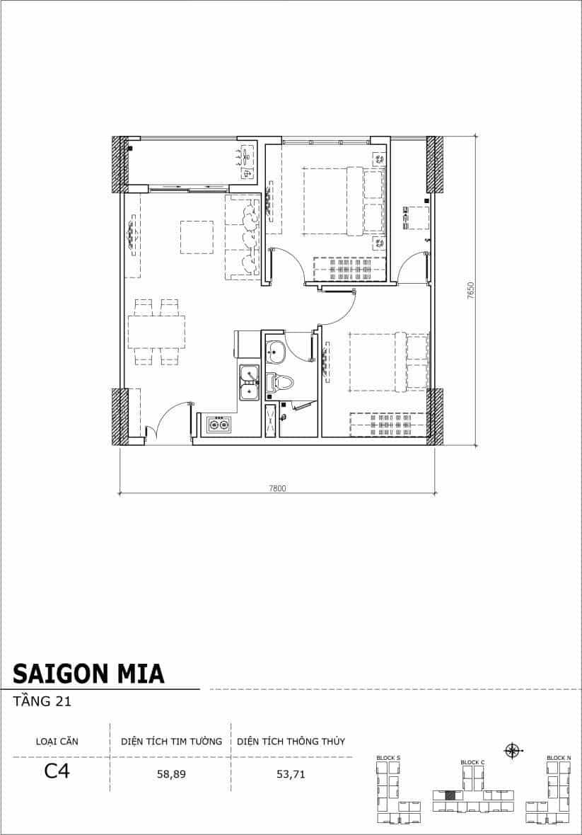 Chi tiết thiết kế căn hộ Saigon Mia Hưng Thịnh Tầng 21-Căn C4