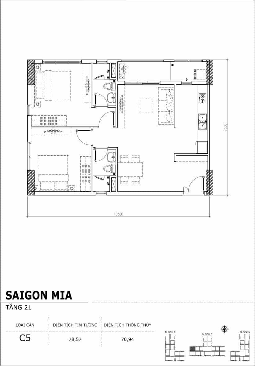 Chi tiết thiết kế căn hộ Saigon Mia Hưng Thịnh Tầng 21-Căn C5