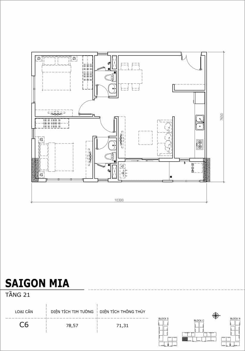Chi tiết thiết kế căn hộ Saigon Mia Hưng Thịnh Tầng 21-Căn C6