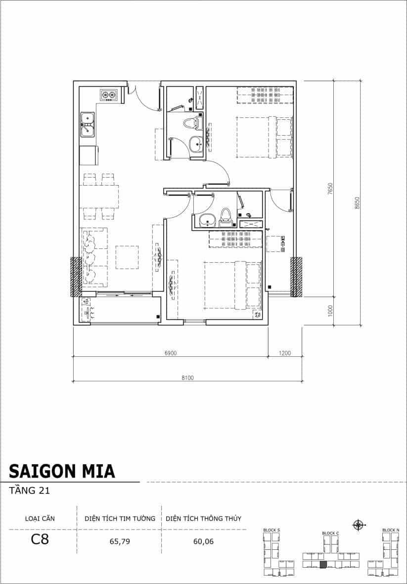 Chi tiết thiết kế căn hộ Saigon Mia Hưng Thịnh Tầng 21-Căn C8
