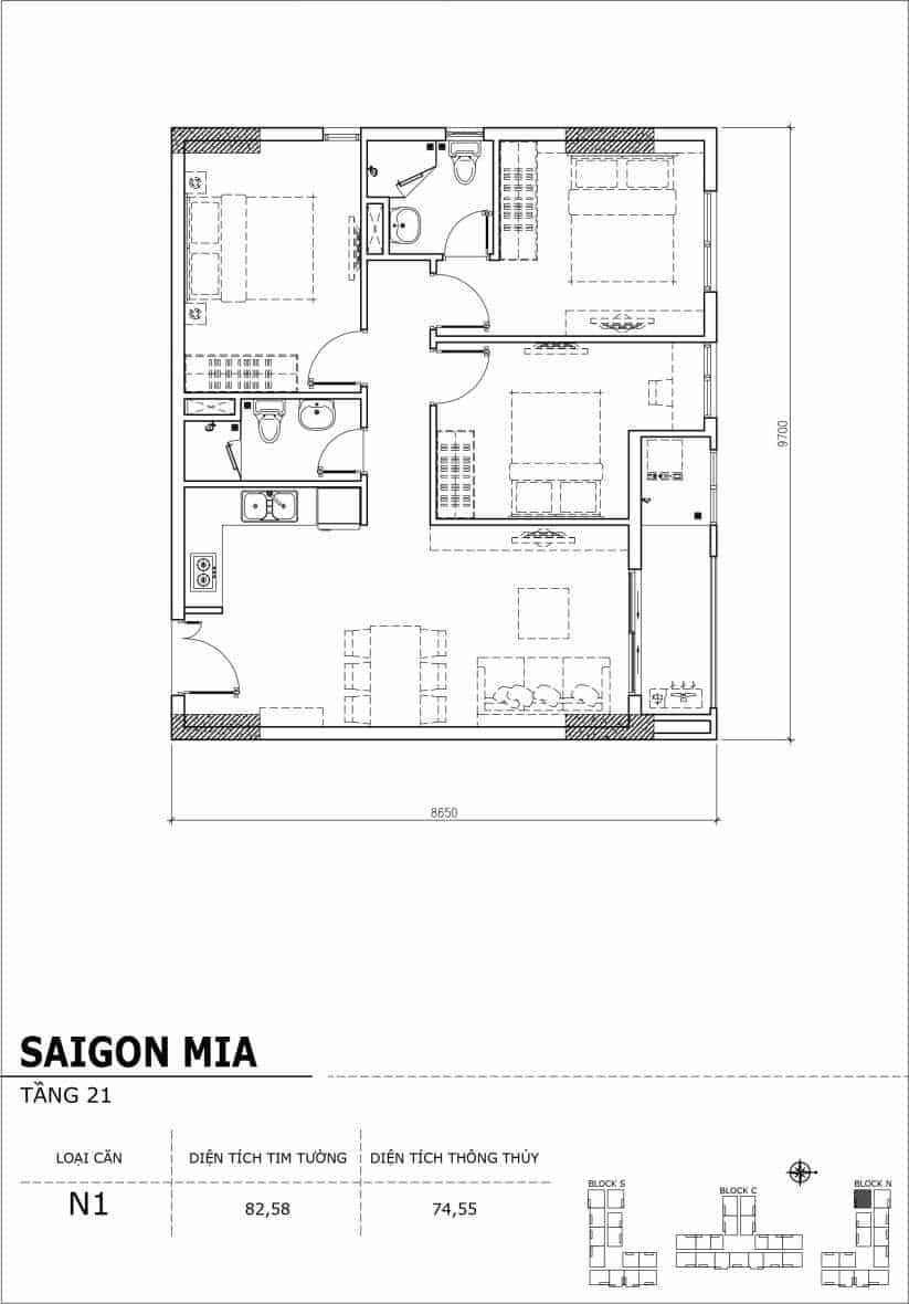 Chi tiết thiết kế căn hộ Saigon Mia Hưng Thịnh Tầng 21-Căn N1