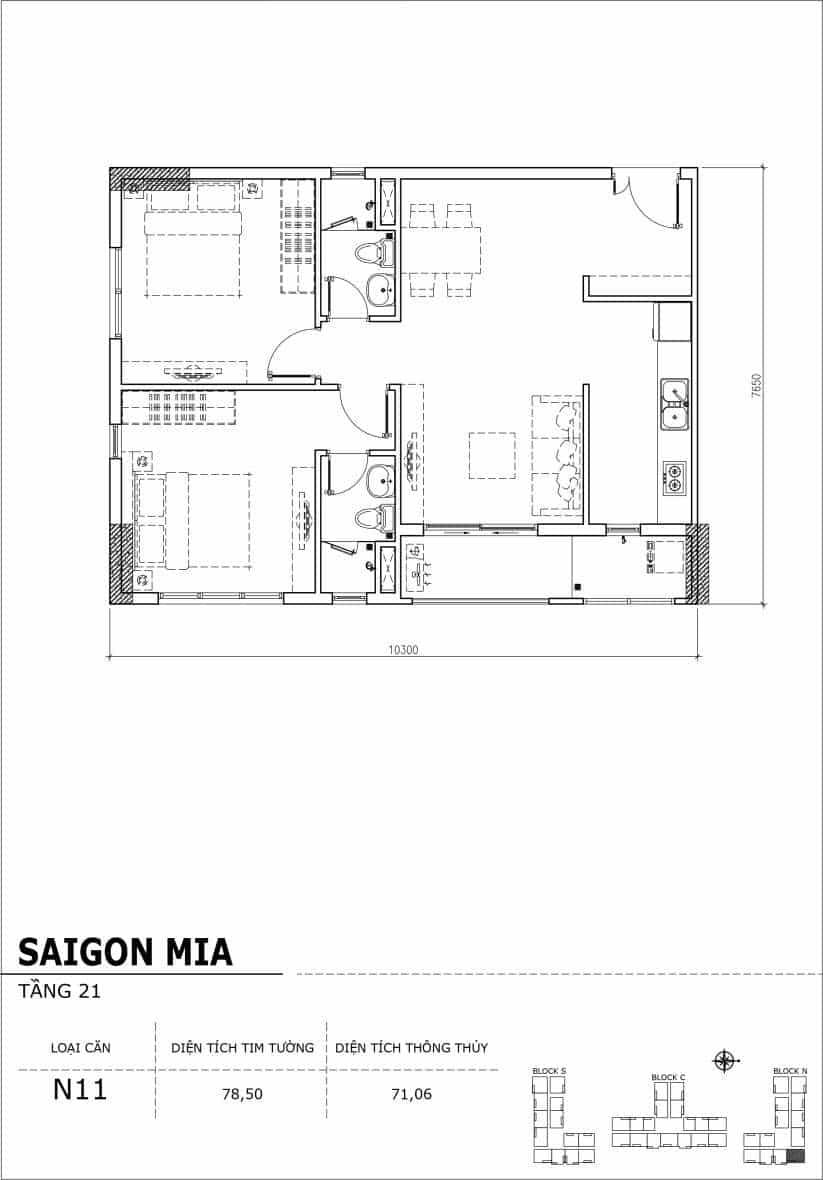 Chi tiết thiết kế căn hộ Saigon Mia Hưng Thịnh Tầng 21-Căn N11