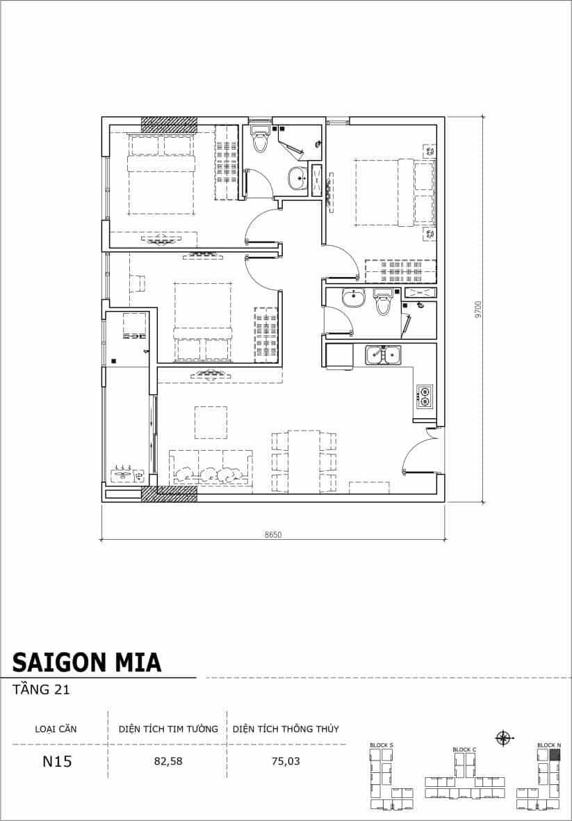 Chi tiết thiết kế căn hộ Saigon Mia Hưng Thịnh Tầng 21-Căn N15