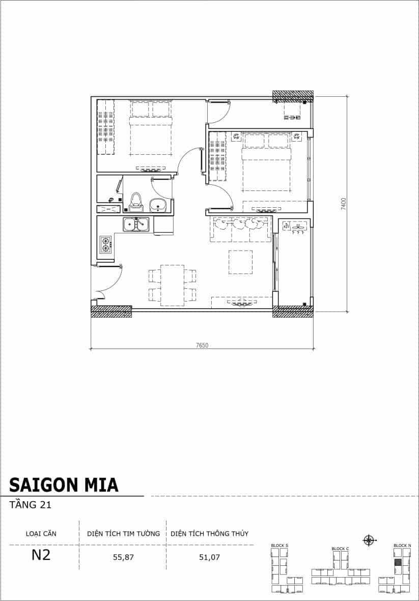 Chi tiết thiết kế căn hộ Saigon Mia Hưng Thịnh Tầng 21-Căn N2