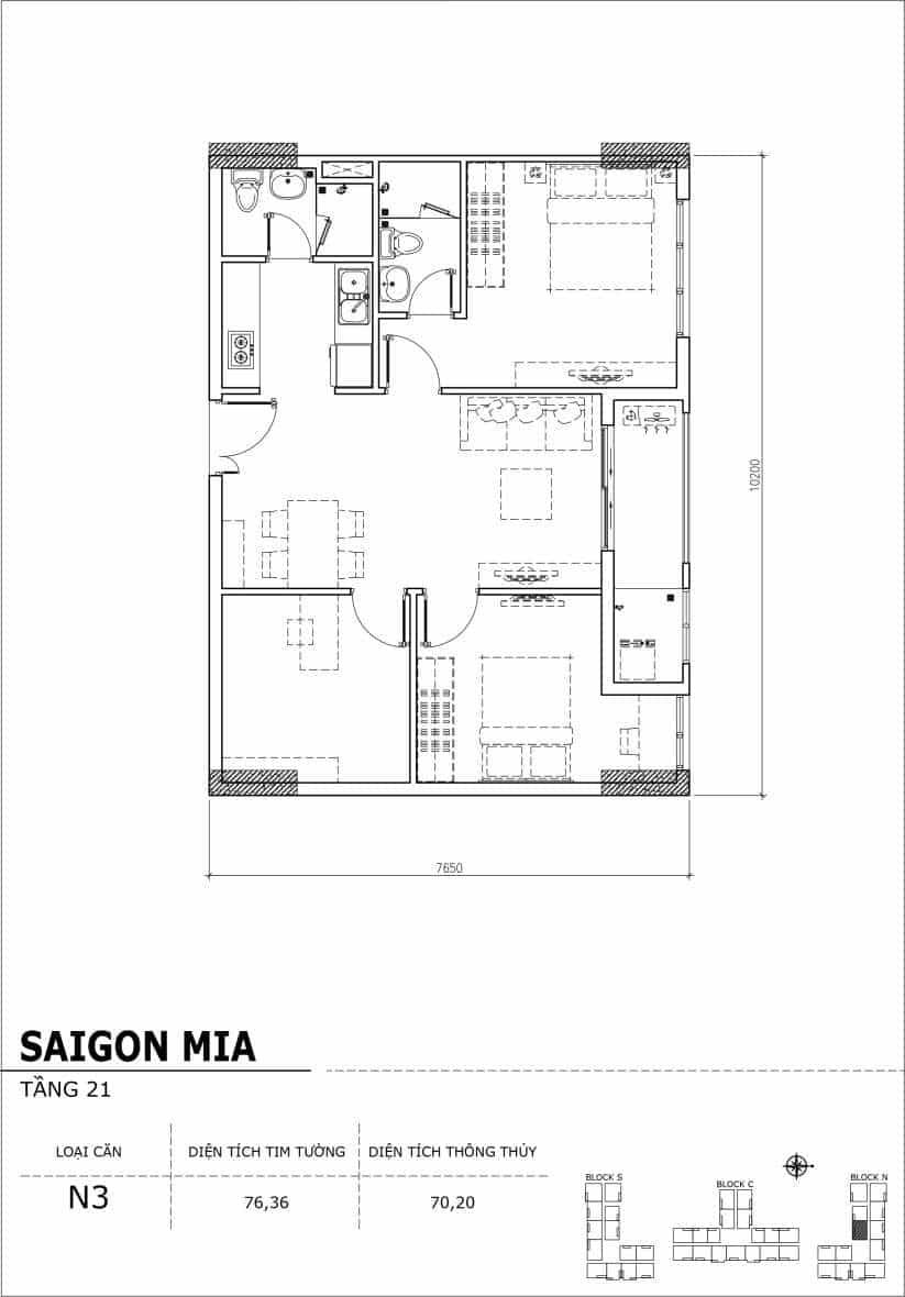 Chi tiết thiết kế căn hộ Sài Gòn Mia Hưng Thịnh Tầng 21-Căn N3