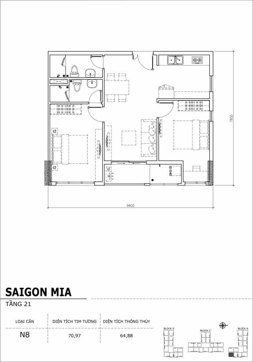 Chi tiết thiết kế căn hộ Saigon Mia Hưng Thịnh Tầng 21-Căn N8