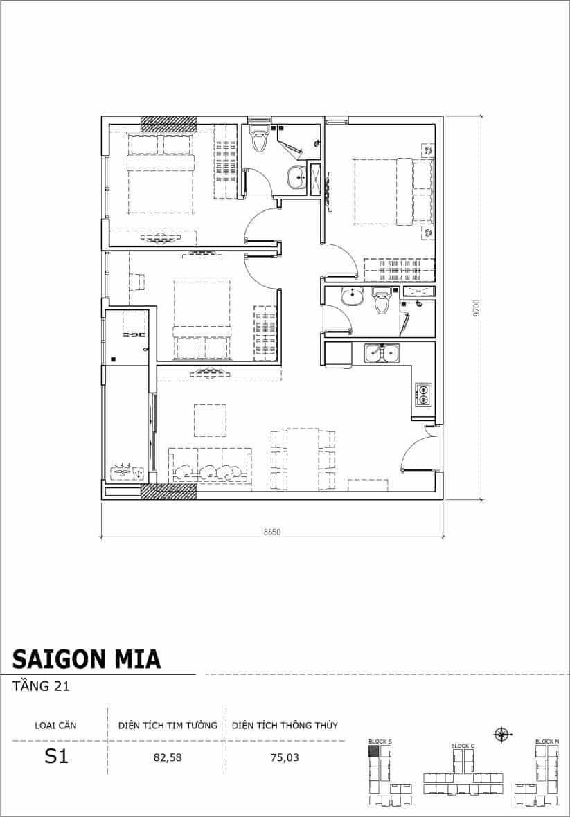 Chi tiết thiết kế căn hộ Saigon Mia Hưng Thịnh Tầng 21-Căn S1