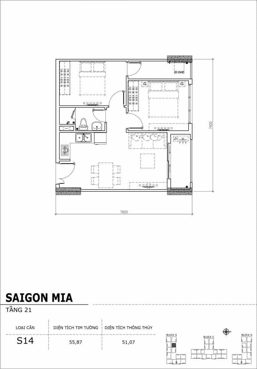Chi tiết thiết kế căn hộ Saigon Mia Hưng Thịnh Tầng 21-Căn S14