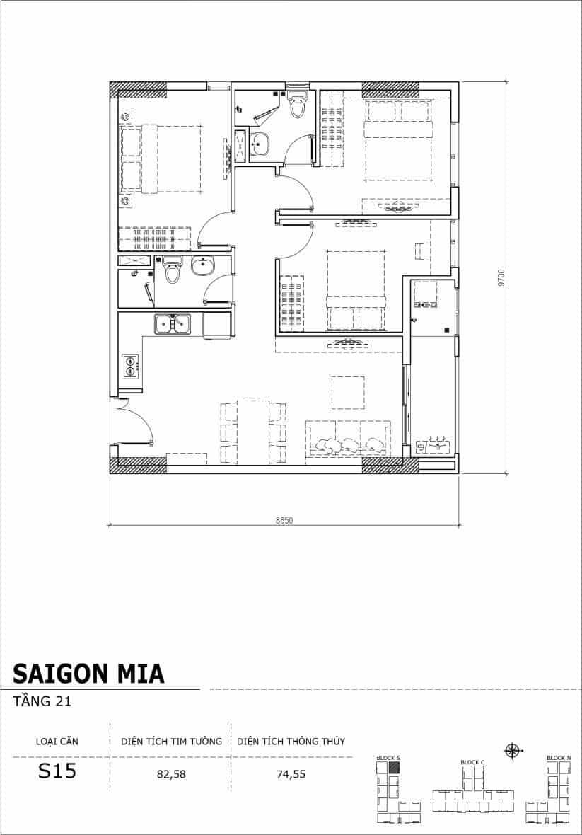 Chi tiết thiết kế căn hộ Saigon Mia Hưng Thịnh Tầng 21-Căn S15