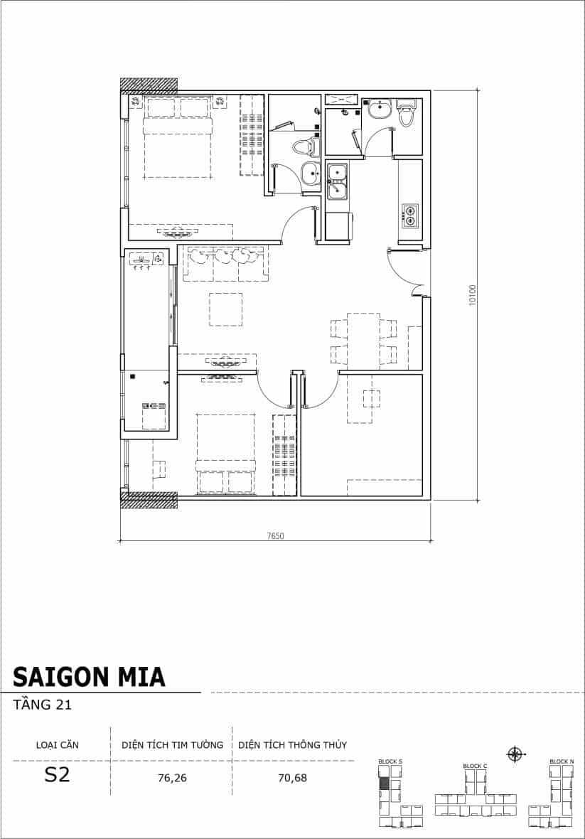 Chi tiết thiết kế căn hộ Sài Gòn Mia Hưng Thịnh Tầng 21-Căn S2