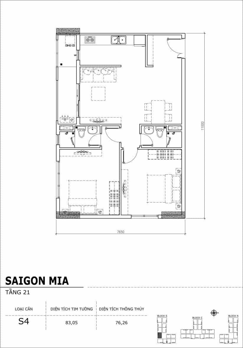 Chi tiết thiết kế căn hộ Saigon Mia Hưng Thịnh Tầng 21-Căn S4