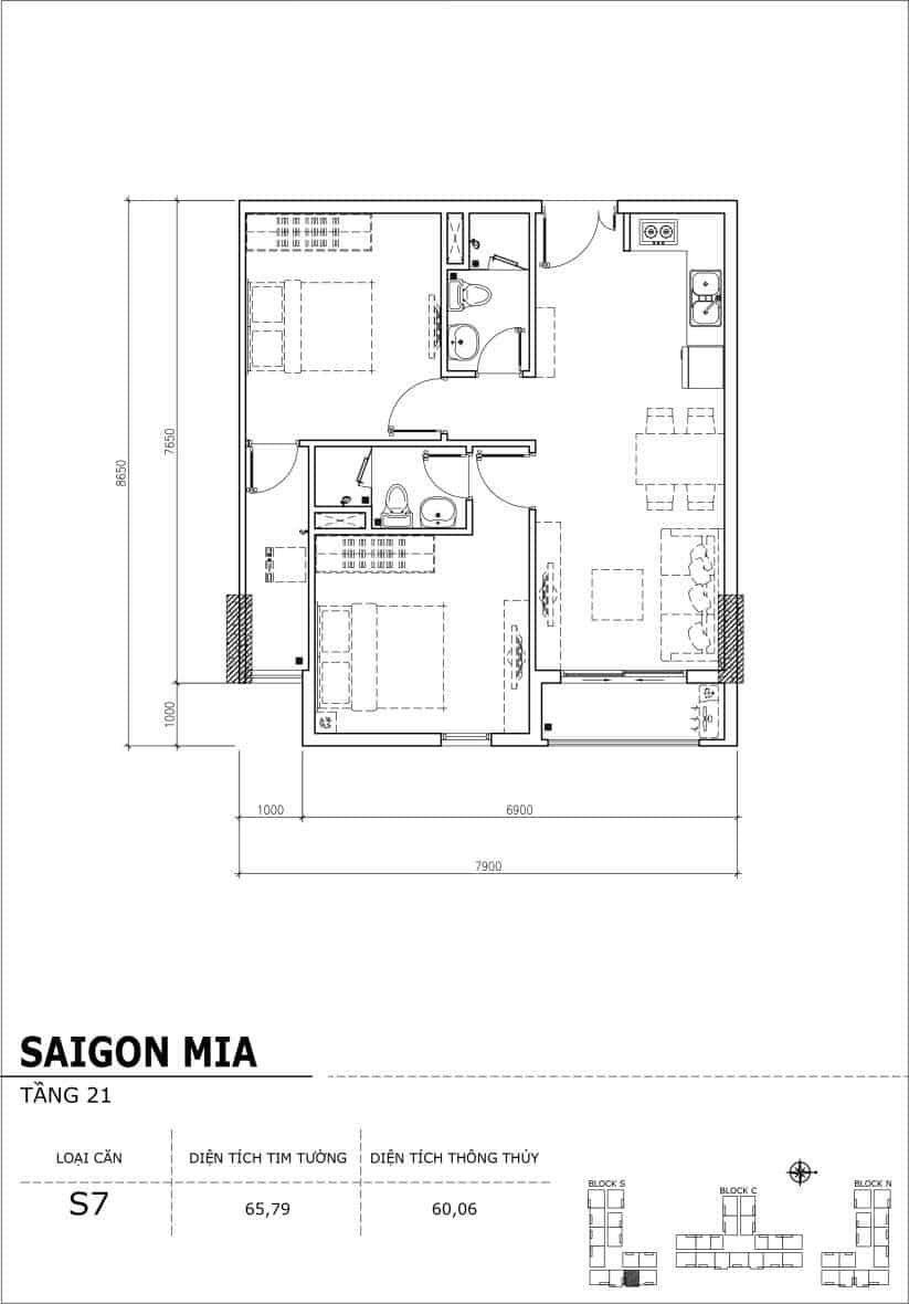 Chi tiết thiết kế căn hộ Saigon Mia Hưng Thịnh Tầng 21-Căn S7