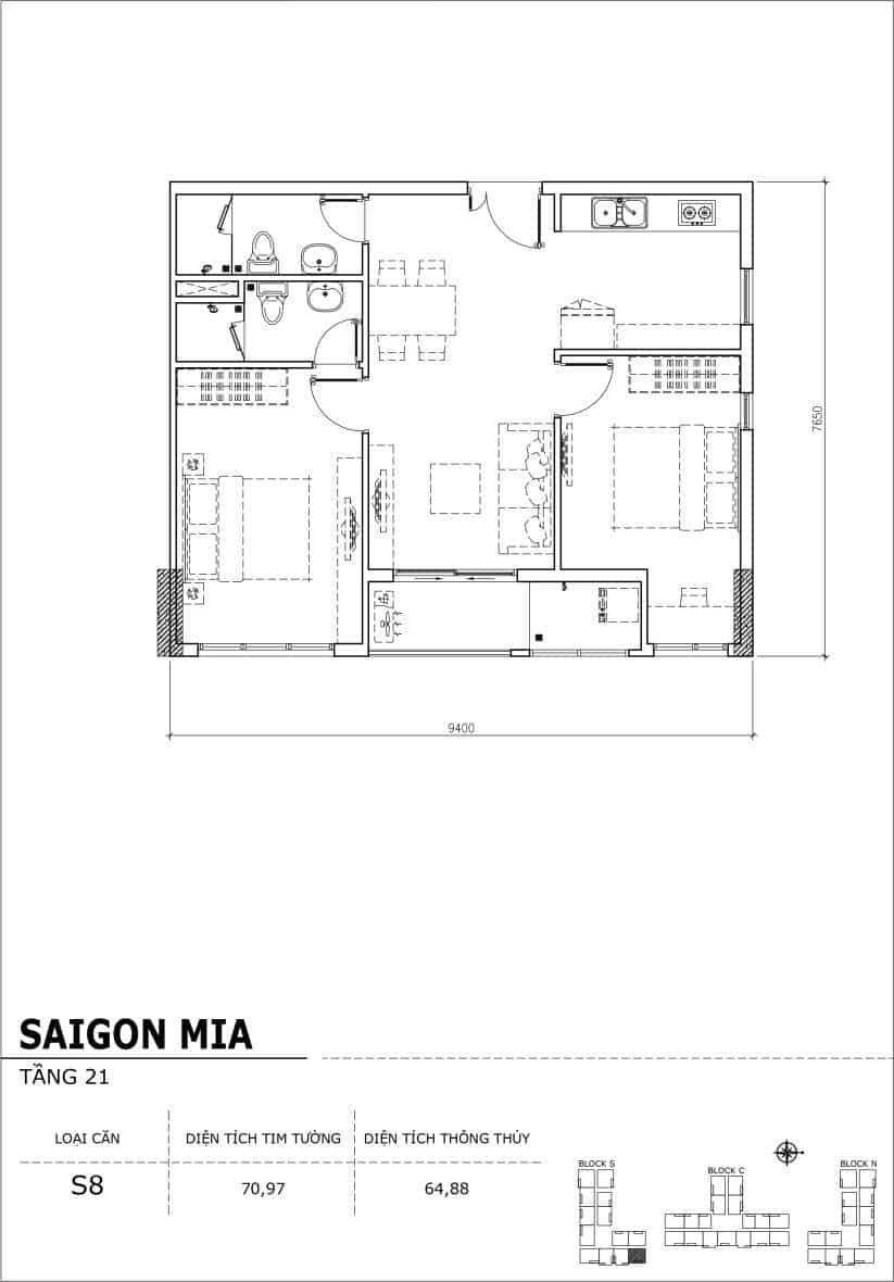 Chi tiết thiết kế căn hộ Saigon Mia Hưng Thịnh Tầng 21-Căn S8