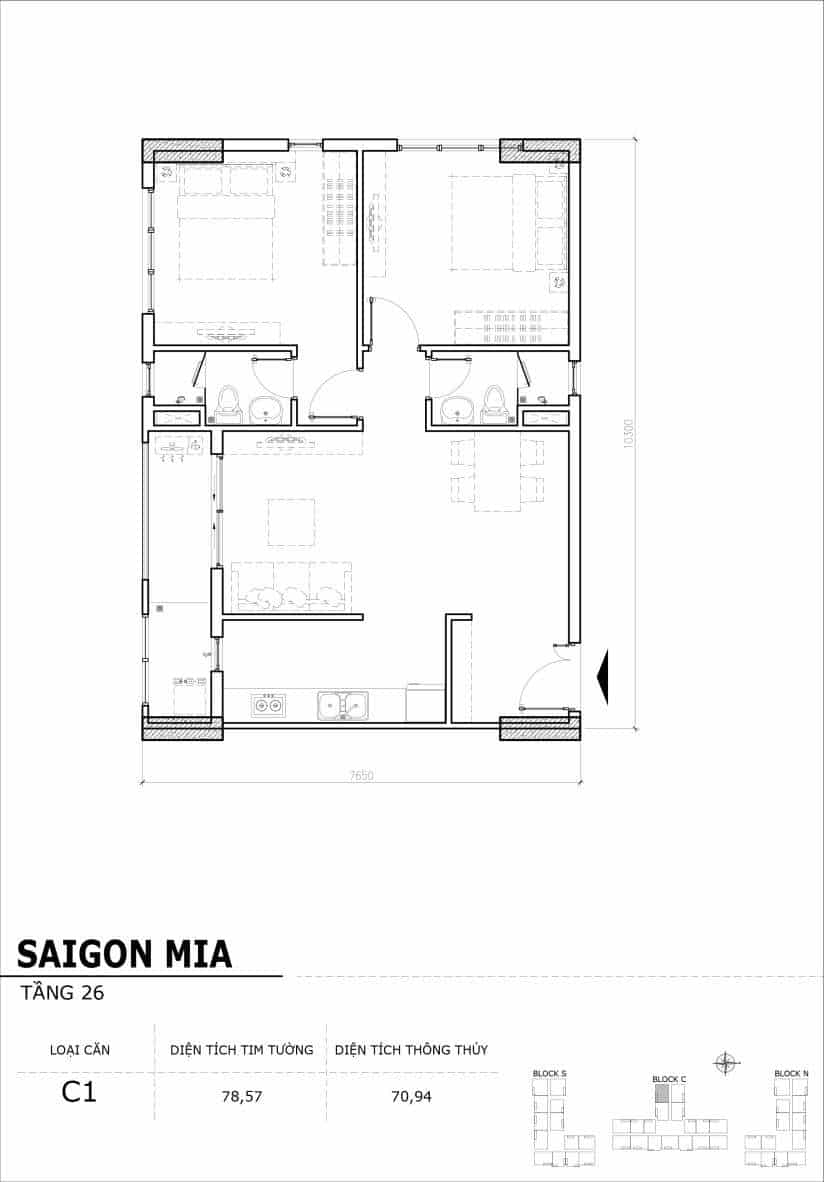Chi tiết mặt bằng căn hộ tầng 22-23-24-25-26 block North Sài Gòn Mia-Căn C1
