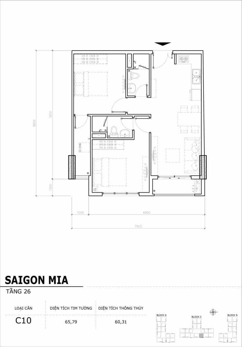 Chi tiết mặt bằng căn hộ tầng 22-23-24-25-26 block North Sài Gòn Mia-Căn C10