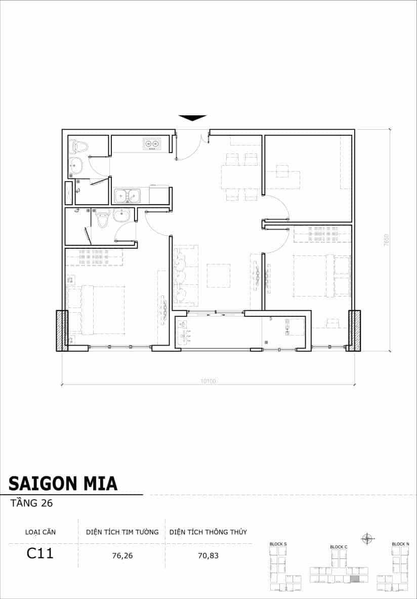 Chi tiết mặt bằng căn hộ tầng 22-23-24-25-26 block North Sài Gòn Mia-Căn C11