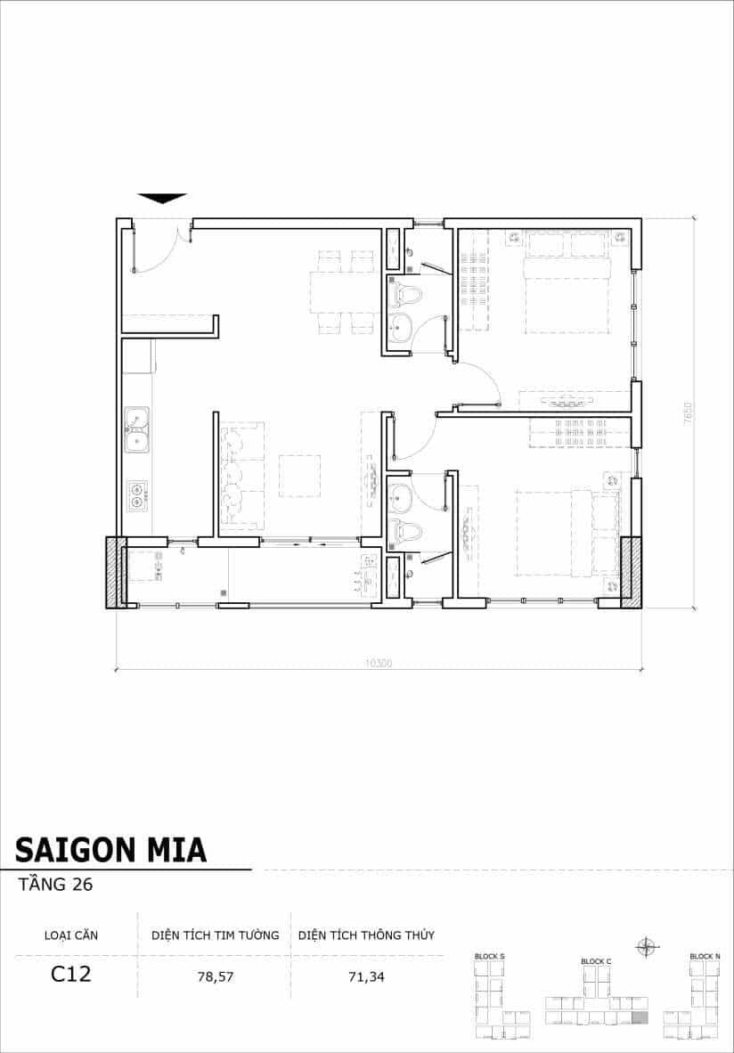 Chi tiết mặt bằng căn hộ tầng 22-23-24-25-26 block North Sài Gòn Mia-Căn C12