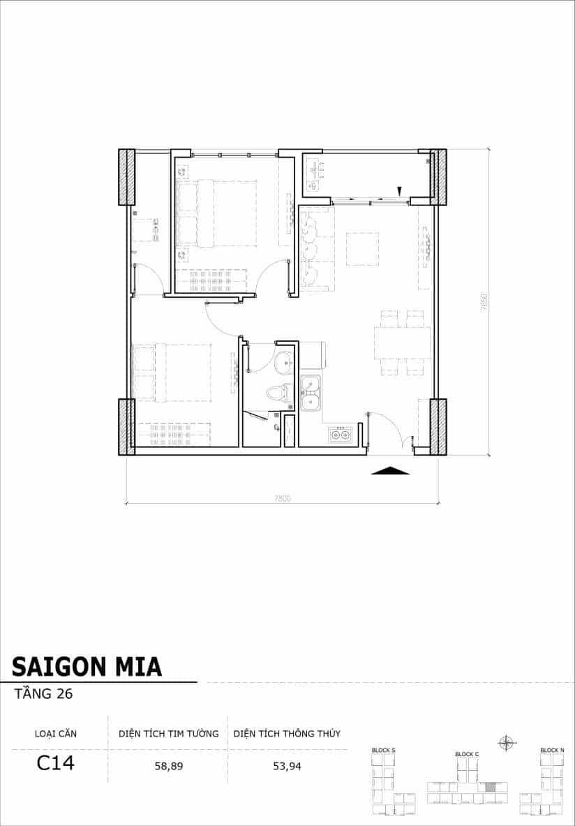 Chi tiết mặt bằng căn hộ tầng 22-23-24-25-26 block North Sài Gòn Mia-Căn C14