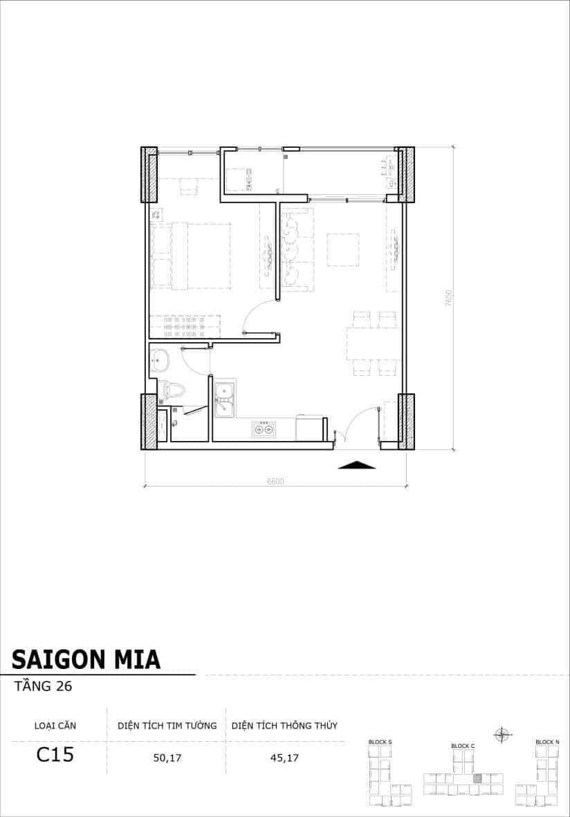 Chi tiết mặt bằng căn hộ tầng 22-23-24-25-26 block North Sài Gòn Mia-Căn C15
