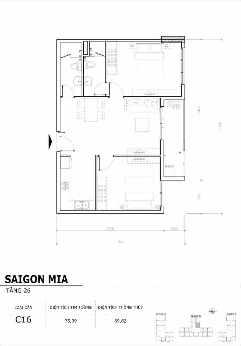 Chi tiết mặt bằng căn hộ tầng 22-23-24-25-26 block North Sài Gòn Mia-Căn C16